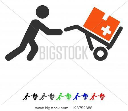Medical Shopping Cart flat vector icon with colored versions. Color medical shopping cart icon variants with black, gray, green, blue, red.