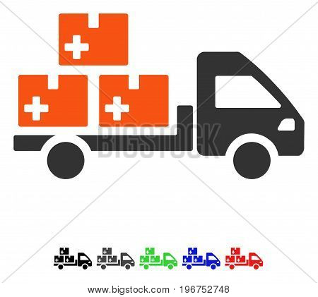 Medication Delivery flat vector illustration with colored versions. Color medication delivery icon variants with black, gray, green, blue, red.