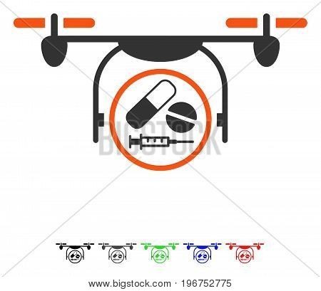 Medication Quadcopter flat vector pictogram with colored versions. Color medication quadcopter icon variants with black, gray, green, blue, red.