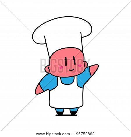 Kawaii chef smiling and waving his hand.