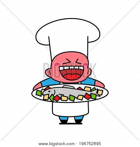 Kawaii chef laughing and holding plate with fish.