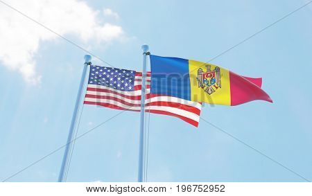 Moldova and USA, two flags waving against blue sky. 3d image