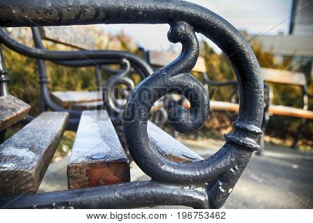The details of wooden bench in the park