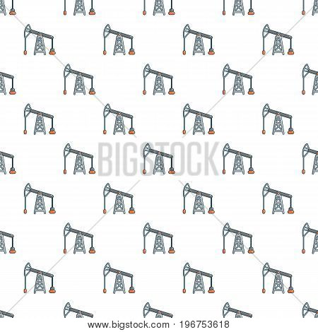 Oil pump pattern seamless repeat in cartoon style vector illustration