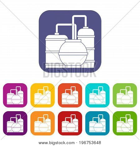 Gas storage tanks icons set vector illustration in flat style in colors red, blue, green, and other
