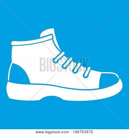 Tourist shoe icon white isolated on blue background vector illustration