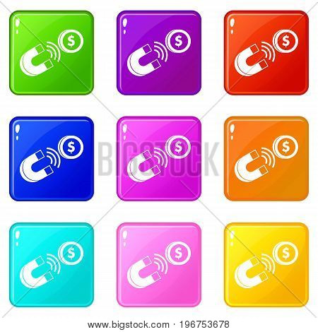 Magnet with coin icons of 9 color set isolated vector illustration