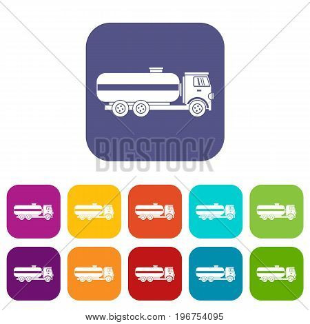 Fuel tanker truck icons set vector illustration in flat style in colors red, blue, green, and other