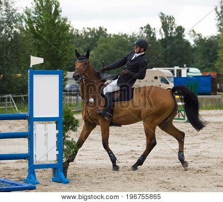 Disobediebt horse with rider on  showjumping competition