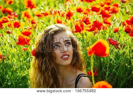 woman or happy smiling girl with long curly hair in field of red poppy seed with green stem on natural background summer spring drug and love intoxication opium