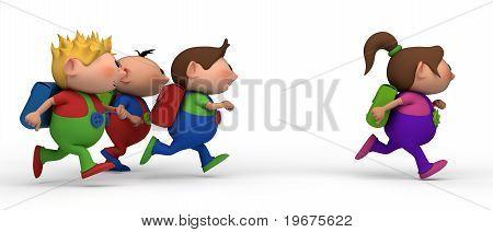 boys chasing girl