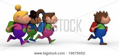 girls chasing boy