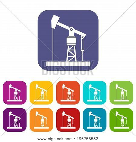 Oil pump icons set vector illustration in flat style in colors red, blue, green, and other