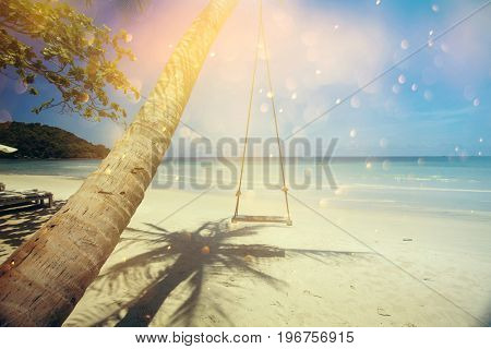 Tropical beach background with palm trees and blue sky