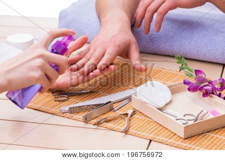 Hand manicure concept for man