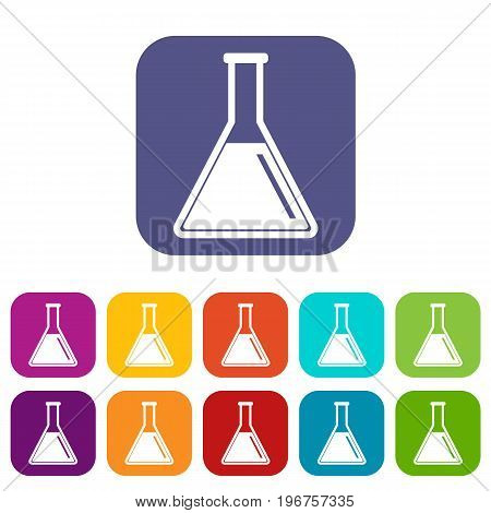 Test tube with oil icons set vector illustration in flat style in colors red, blue, green, and other