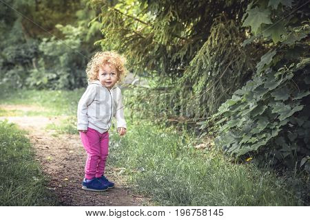 Cute curly child girl walking alone in forest on footpath among trees  during summer holidays symbolizing happy carefree childhood