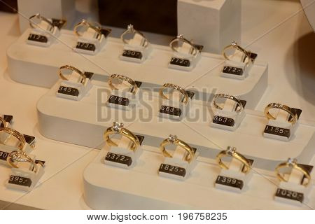 Diamond engagement rings in a shop window