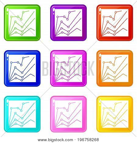 Financial statistics icons of 9 color set isolated vector illustration