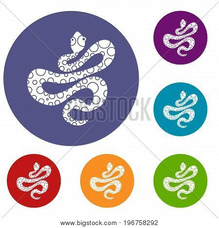Black dotted snake icons set in flat circle red, blue and green color for web