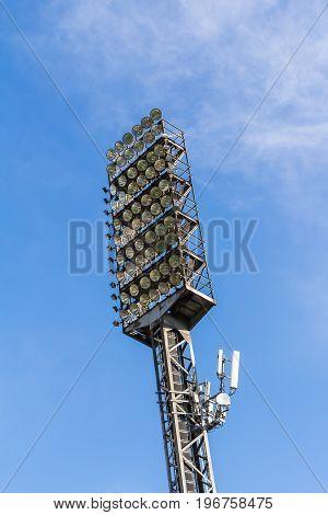 Old floodlight mast of a sport stadium
