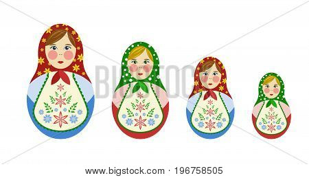 A set of Russian dolls-nesting dolls, a toy nevalshka Matryoshka. Simple and modern style vector illustration.
