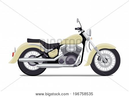 Vintage motorcycle. Classic chopper. Isolated on white background