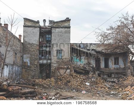 Terrifying Landscape Of Destroyed Homes In Poor Quarter For The Poor People. Ruined Building After N
