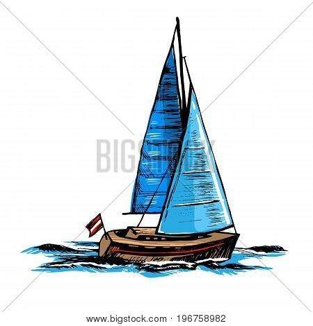 Hand drawn vector color illustration of a sketch. Sailboat. A sea yacht floats on the surface of the water.