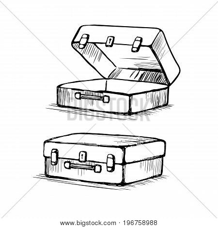 Hand drawn retro style travel Suitcase is open and closed. Valise old.  Sketch vector illustration isolated on white background.