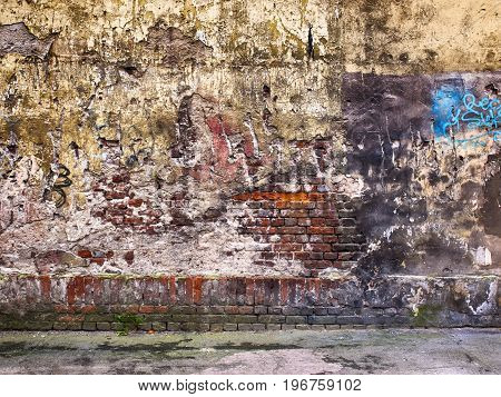 Wall With Peeling Plaster, Putty Texture Of Old As A Background