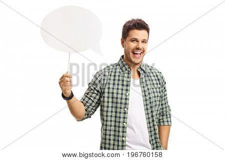 Cheerful guy holding a speech bubble isolated on white background