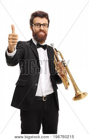 Trumpet player making a thumb up gesture isolated on white background