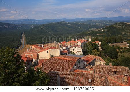 View of the Motovun roof Typical Istrian town. Croatia