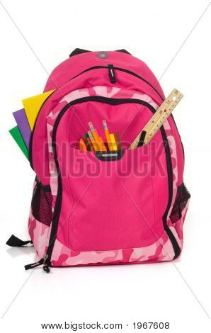 Pink Packback With School Supplies