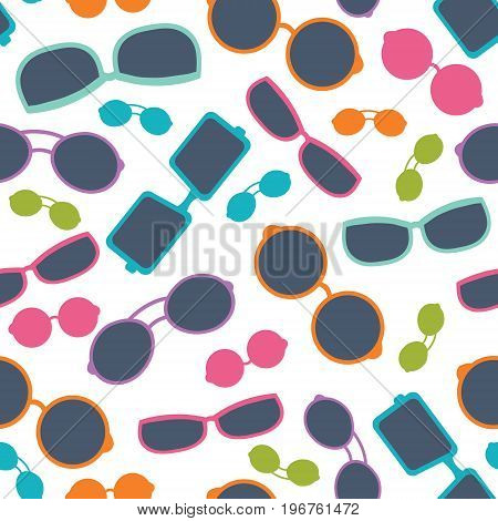 Vector colorful sunglasses shades summer vacation seamless pattern. Great for vacation themed fabric, wallpaper, packaging. Surface pattern design.