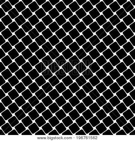 Seamless black and white square pattern - geometrical halftone abstract vector background graphic design from angular rounded squares