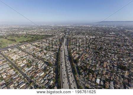 Aerial view of the San Diego 405 Freeway in the Lawndale and Torrance neighborhoods in Los Angeles County, California.