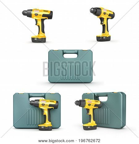Set of cordless screwdriver isolated on white background. 3d illustration