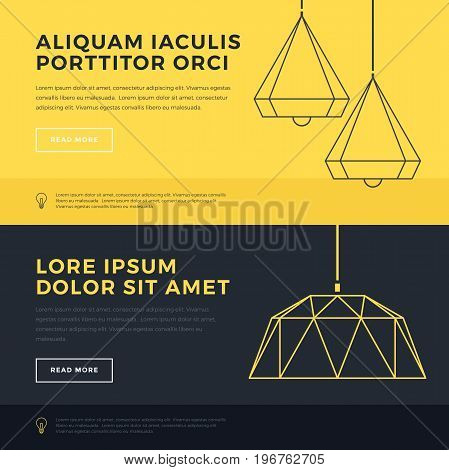 Modern Lamps. Home light. Set of banners on the topic of lighting. Line drawing. Template layout for brochure, flyer, booklet. Vector elements.