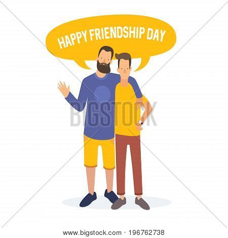 Friendship Day. Two cartoon young people are embracing, and rejoice in feast of friends. Vector illustration.