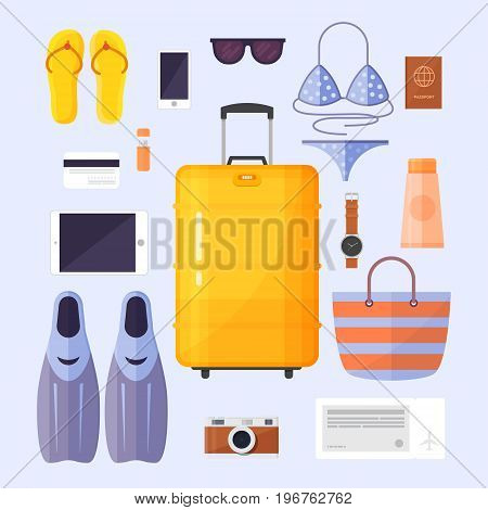 Summer rest, travel. Activity beaches elements and accessories. Sea vacation. Passenger luggage.