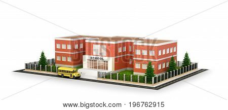 School building bus and front yard. Flat style vector illustration isolated on white background. 3d illustration