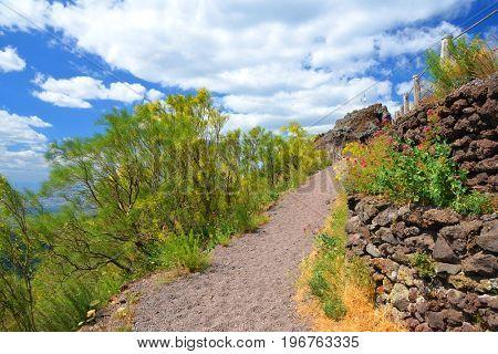 Hiking trail on Vesuvius volcano. Campania region, Italy