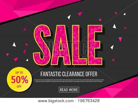 Sale Banner Template In Black And Pink Colors.