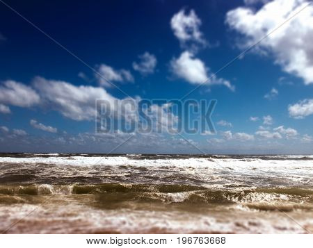 filtered image, view of the ocean, sky and clouds