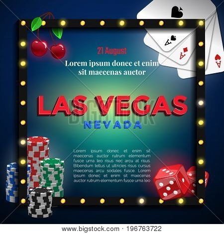 Las Vegas background design for banner or flyer with gambling element in black frame.