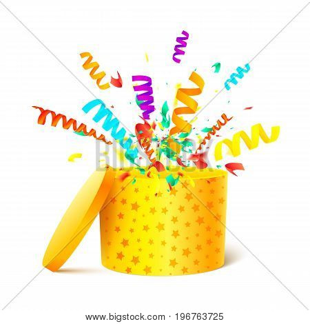 Yellow cylinder box isolated on white background with confetti explosion. An open gift box. A box with a surprise. Bright Gift Packaging. Vector illustration