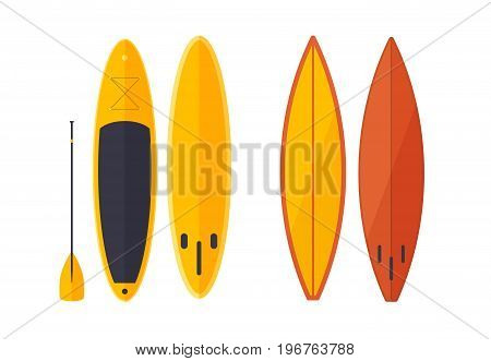Set of modern colorful surfboards. Equipment for surfing. Summer active rest on water. Vector illustration on white background.