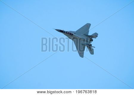 Moscow Region - July 21, 2017: Russian strike fighter MIG-29 flies at the International Aviation and Space Salon (MAKS) in Zhukovsky.